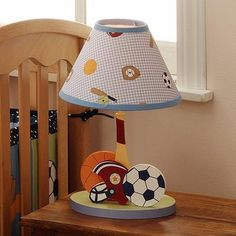 Bedtime Originals Super Sports Lamp w/ Shade - Best Price Childrens Lamps, Kids Lamps, Nursery Themes, Nursery Ideas, Themed Nursery, Nursery Accessories, Sports Baby, Super Sport, Bedtime