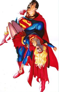Superman and Supergirl - Crisis on Infinite Earths by Alex Ross.