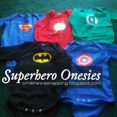 While He Was Napping: Superhero Onesies  heat transfer vinyl. My children will all be Batman supporters from birth.