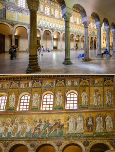 Take time to sit and admire the Basilica of Sant' Apollinare Nuovo, Ravenna, Italy Ravenna Italy, Islamic Architecture, Classical Architecture, Jesus Painting, Florence Tuscany, Turkish Art, Italy Travel, Art History, World
