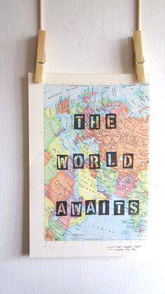 The World Awaits Travel Theme Nursery Mint and by OpusandVerse