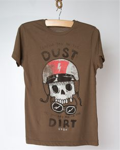 Dust & Dirt skull with helmet and goggles tee in brown