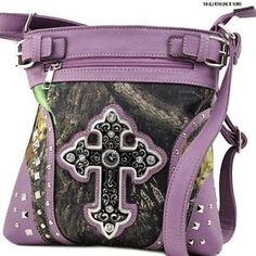 Purple RealTree Purses | Western Camo Concealed Carry Rhinestone Cross Body Gun Messenger Purse ...