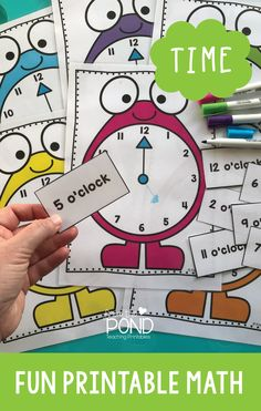Clock printables for learning to tell the time in kindergarten