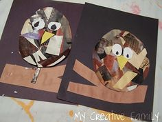Collage owls - magazine cutout paper or torn paper can be used