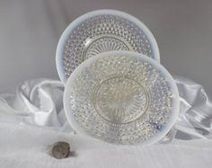 white hobnail dinner plate | Set of Two Vintage Anchor Hocking M oonstone Hobnail Dinner Plates ...