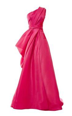 Monique Lhuillier - One Shoulder Draped Ball Gown With Lace Applique