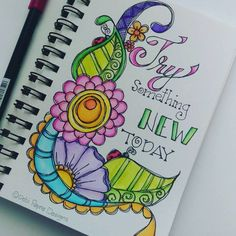 What can you do new today? #watercolors #tombow #handlettering #motivation… Journal Inspiration, Motivation Inspiration, Flower Doodles, New Today, Zentangle Patterns, Border Design, Art Journal Pages, Smash Book, Cover Pages