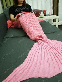 Comfortable Fish Scale Sleeping Bag Sofa Mermaid Tail Blanket
