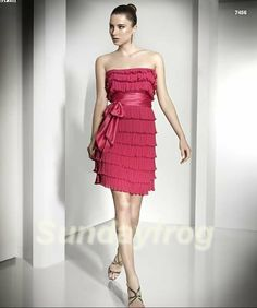 New Arrival Best Selling Sexy Sheath Empire Sunset Glow Pleated Chiffon Sash Bow Mini Cocktail Dresses  -7456 $89.00