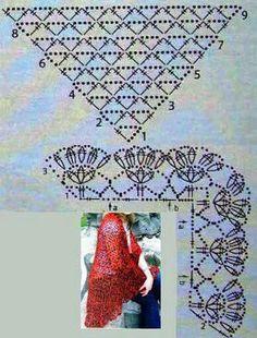 "crochet shawl Uses treble crochet stitch to make ""mesh. w/ a bit of modification, of course. Crochet Shawl Diagram, Crochet Poncho, Crochet Chart, Crochet Scarves, Crochet Clothes, Crochet Triangle, Crochet Borders, Crochet Diy, Love Crochet"