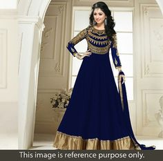 Georgette Zari Work Blue Unstitched Long Anarkali Suit - RTC-5082 In Stock: Rs 1,222