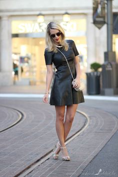 Leather-t shirt dress-7