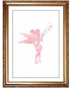 Pink Tinkerbell DIY Art Print Pink Watercolor by JoshandDavids