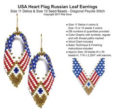 USA Heart Flag Russian Leaf Earrings Pattern | Bead-Patterns.com