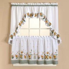 Sunflower Kitchen Stuff | Sunflower Tier Curtains Set   Curtain Drapery.com