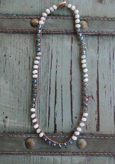 Sparkly crochet necklace Crystal City sky baby by slashKnots