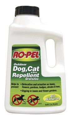 Ropel Dog Cat and Bird Repellent Granules, 2-Pound by Ropel. $13.99. All natural granules held prevent defecation and urination on lawns. Ropel dog, cat and bird repellent granules. Comes in 2-pounds pack. Measures 3-1/2-inch length by 6-1/2-inch width by 10-3/4-inch height. Helps prevent digging in lawns and flower gardens. Ropel dog, cat and bird repellent granules held prevent defecation and urination on lawns, flower gardens, hedges, shrubs, trees, golf courses and planted...