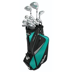 Wilson Profile HL Complete Package Golf Set, Teal, Petite, Right Hand, Graphite, Ladies, D, FW, H, 5-SW, Putter