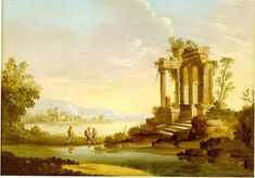 Paisaje con templo en ruinas