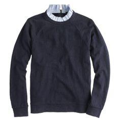 J.Crew ruffled collar sweater in blue.