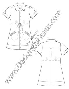 V30 Drawstring Waist Shirtdress Flat Fashion Sketch Free