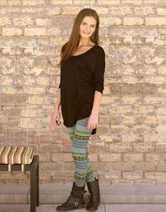 Black Doman Top  and turquoise aztec leggings – Laney Lu's Boutique www.laneylus.com Redwood Falls, MN