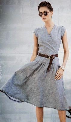 Spring fashion | Street grey dress, belt