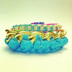Chain Bracelet stack in gold with electric blue by McIntoshJewelry