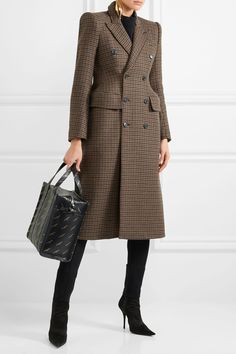 Balenciaga   Hourglass double-breasted checked wool-blend coat   NET-A-PORTER.COM