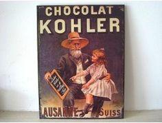 """Plaque publicitaire vintage """"Chocolat Kohler"""""""