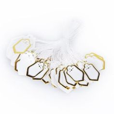 500PCs Rectangular Label Tie String Jewelry Display Merchandise Price Tags Gold / Silver / White