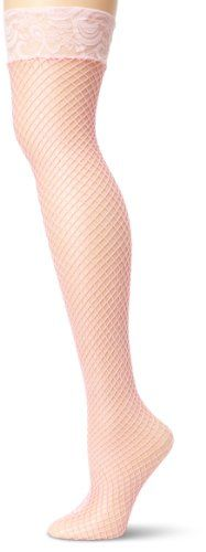 aa8b56561d5e4 Leg Avenue Women's Fishnet Thigh High Stockings with Silicone Lace Top,  Black at Amazon Women's Clothing store: