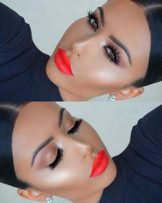 Bright Orange Lips Make-up Look für den Sommer Glam Makeup, Flawless Makeup, Gorgeous Makeup, Pretty Makeup, Love Makeup, Simple Makeup, Makeup Tips, Beauty Makeup, Hair Makeup