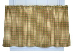 Charlestown Check 68-Inch by 36-Inch Tailored Tier Curtains, Brown by Ellis Curtain. Save 1 Off!. $32.65. Coordinating drapes and tailored tier curtains available thru Amazon; Made in the USA; Dry clean recommended. Each curtain is constructed with a standard rod pockets, 1-inch headers and 3-inch hems; Sold in pairs (2 Panels). Rich colors with small scale multi colored check pattern will bring a warm and inviting feel to any room. Measurements 68-inch overall width (both 34-i...