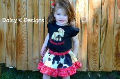 Cowgirl Horse Skirt and Personalized Shirt Outfit by DaisykDesigns, $45.00 - Would make a great birthday outfit for a western themed birthday