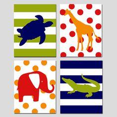 Safari Animals Quad - Set of Four 8x10 Prints - Kids Wall Art for Nursery - Elephant, Turtle, Alligator, Giraffe - Choose Your Colors