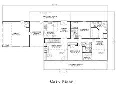Country Farmhouse Southern House Plan 61392
