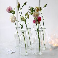 Simple small glass vase. PLEASE NOTE SIZE - Height 14cm. Dia 4.8cm.Clear little glass bottle vase perfect to present a few pretty single stem flowers. Attractive accessory to also style a big event as the vases look great in groups especially trimmed with brightly coloured ribbons to embellish wedding reception or party tables. Presented wrapped in Red Lilly tissue paper. Sold as a single vase.GlassH14cm x Dia 4.8cm