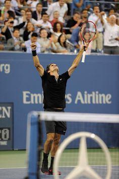 Roger Federer, US Open 2014. #Federer #FedEx #USOpen Atp Tennis, Mr Perfect, Carolina Hurricanes, Serena Williams, Roger Federer, Tennis Players, Tennis Racket, Athletes, Poetry