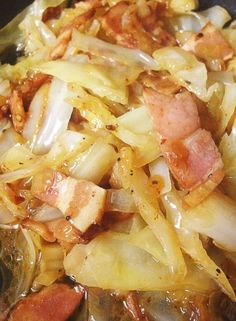 Bacon and Butter Braised Cabbage, Low Carb, High Fat