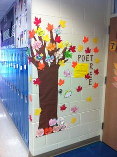 POET TREE~  Cute bulletin board for poetry (leaves could easily be made using construction paper and a die cut machine)