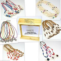 WHOLESALE LOT 36 Surfer Girls Necklaces FREE Wood Counter Display Puka Shell G3