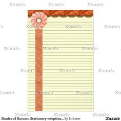 Shades of Autumn Stationery w/optional lines
