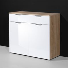 Eva Compact Sideboard In Gloss White And Oak With 2 Doors