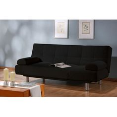 LifeStyle Solutions Casual Microsuede Convertible Sleeper Sofa | AllModern