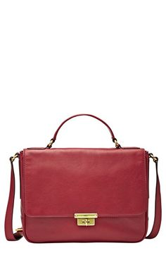 Fossil 'Memoir' Leather Crossbody Bag available at #Nordstrom in cranberry