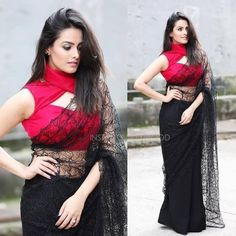 The utterly gorgeous Anita Hassandani totally rocking this red and black saree number. Shagun Blouse Designs, Blouse Neck Designs, Dress Designs, Lace Saree, Saree Dress, Black Saree Blouse, Dress Lace, Black And Red Saree, Black Net Saree