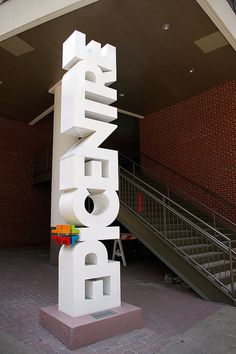 epicentre signature element 3 by adam.slight, via Flickr Pylon Signage, 3d Signage, Wayfinding Signs, Outdoor Signage, Exterior Signage, Signage Design, Booth Design, Signage Systems, Office Signage