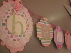 CLEARANCE SALE Happy first 1st Birthday Banner girl birthday party sign decorations shabby chic vintage style. $19.00, via Etsy.